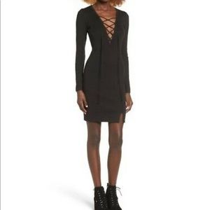 WAYF Black Lace-up minidress